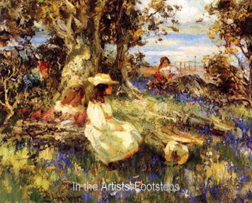Bluebell Wood Overlooking the Solway Firth by William Stewart MacGeorge