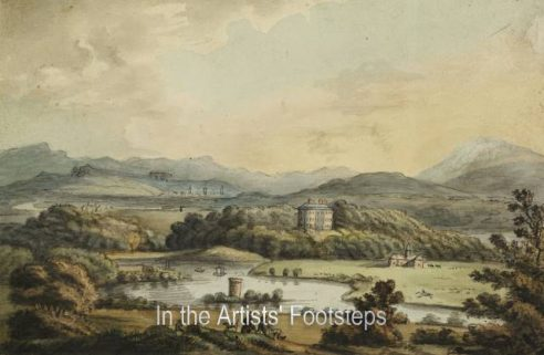 Dalswinton House and Loch, where the first steamboat sailed by Alexander Nasmyth
